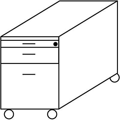 Wellemöbel BASIC-II Rollcontainer - mit 1 Utensilienschub, 1 Materialschub, 1 Hängeregistratur, Tiefe 800 mm