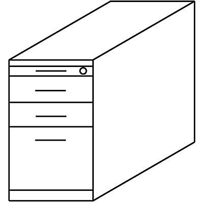 Wellemöbel BASIC-II Standcontainer - mit Utensilienschub, 2 Materialschüben, 1 Hängeregistratur
