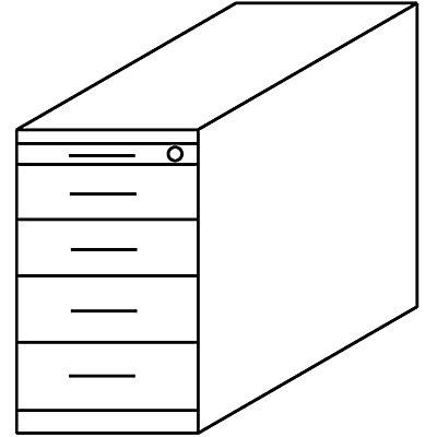 HAMMERBACHER NICOLA Standcontainer - 4 Materialschübe, 1 Utensilienschub