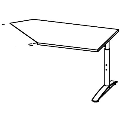 fm büromöbel HANNA Ansatztisch, höhenverstellbar 680 – 820 mm - 45°, für Anbau rechts