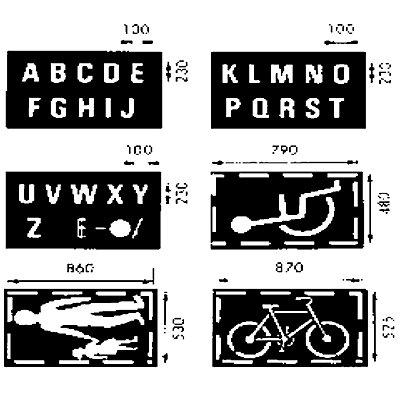 Schablonenset - Set 3 - bestehend aus 6 Einzelschablonen