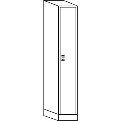 Wolf Garderobenschrank, Fachhöhe 1700 mm - 1 Abteil à 300 mm Breite