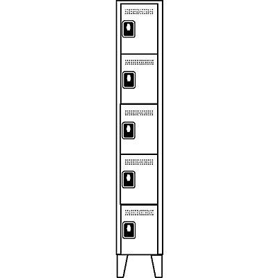 Wolf Garderobenschrank, Fachhöhe 325 mm - HxBxT 1850 x 400 x 500 mm, Abteilbreite 400 mm