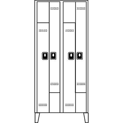 Wolf Z-Garderobenschrank, Fachhöhe 820 mm - HxBxT 1850 x 800 x 500 mm, Abteilbreite 400 mm
