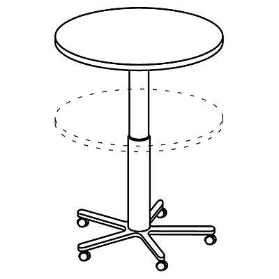Table de cafétéria réglable en hauteur - Ø 800 mm, piétement noir avec roulettes