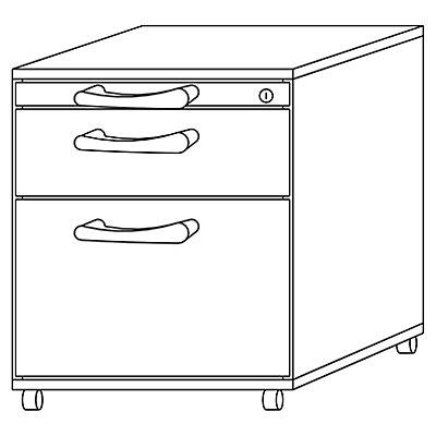 HAMMERBACHER ANNY Rollcontainer - 1 Utensilienschub, 1 Materialschub, 1 Hängeregistratur, Tiefe 553 mm