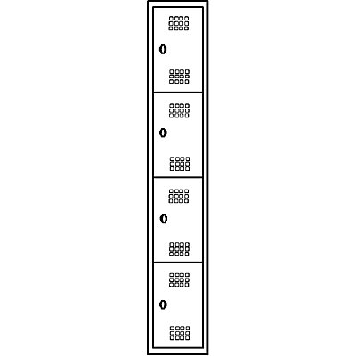 Wolf Stahlspind, zerlegt - 4 Abteile, Höhe 410 mm, Breite 300 mm