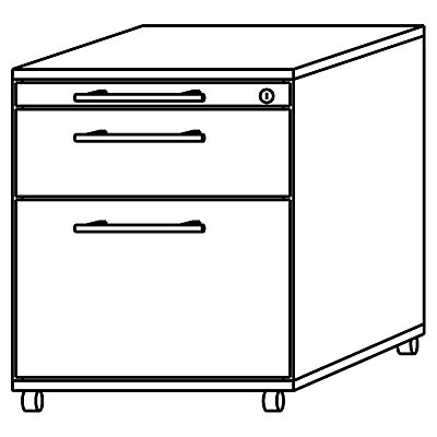 HAMMERBACHER NICOLA Büro-Rollcontainer - 3 Materialschübe, 1 Utensilienschub
