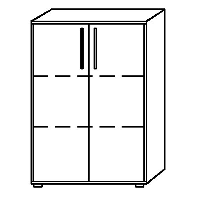 HAMMERBACHER NICOLA Büroschrank - 2 Fachböden, HxBxT 1144 x 800 x 346 mm
