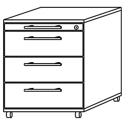 HAMMERBACHER NICOLA Rollcontainer - 1 Materialschub, 1 Hängeregistratur, 1 Utensilienschub