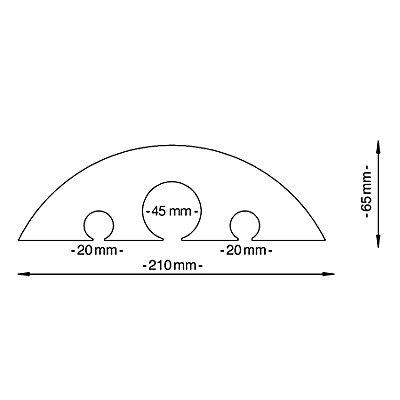 dancop Schlauch- und Kabelbrücke - für Kabel bis 45 mm Ø, gelb - LxBxH 1500 x 210 x 65 mm