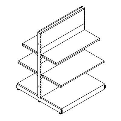 Doppelregal - Komplettsystem mit 4 Böden, HxBxT 1400 x 1031 x 1031 mm