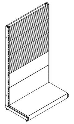 Stirnregal, BxT 1031 x 559 mm - Höhe 1800 mm, 3 Wände gelocht
