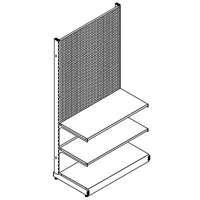 Wandregal - Komplettsystem mit 2 Böden, HxBxT 2000 x 1031 x 559 mm