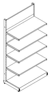 Wandregal - Komplettsystem mit 4 Böden, HxBxT 2000 x 1031 x 559 mm