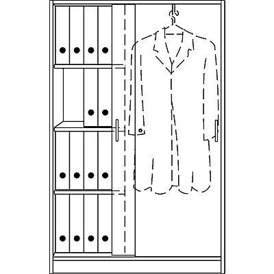 office akktiv STATUS Garderobenschrank - mit Schiebetüren, rechts Garderobe, links 3 Fachböden