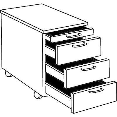OFFICE AKKTIV STATUS Rollcontainer - 1 Utensilienschub, 3 Materialschübe