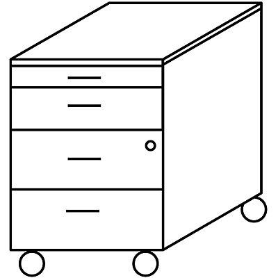 Wellemöbel CLEARLINE Rollcontainer - 1 Utensilienschub, 3 Schubladen