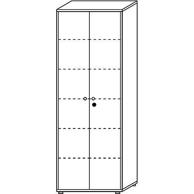 Wellemöbel CLEARLINE Flügeltürschrank - 5 Fachböden, HxBxT 2167 x 800 x 362 mm