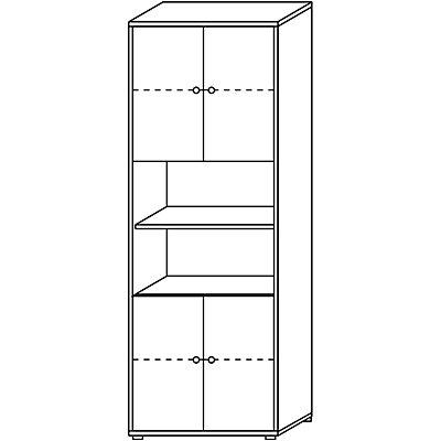 Wellemöbel CLEARLINE Kombischrank - 5 Fachböden, 2 Fächer offen