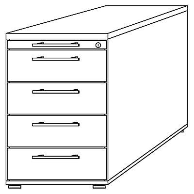 Hammerbacher Standcontainer, höhenverstellbar - 1 Utensilienschub, 4 Schubladen