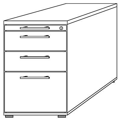 Hammerbacher Standcontainer, höhenverstellbar - 1 Utensilienschub, 2 Schubladen, 1 Hängeregistratur