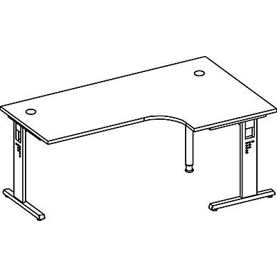 Hammerbacher FINO Freiformtisch, höhenverstellbar - 680 – 760 mm, BxT 2000 x 1200 mm