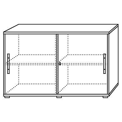 Hammerbacher FINO Schiebetürenschrank - je 1 Fachboden, 1 Trennwand, HxBxT 748 x 1200 x 400 mm