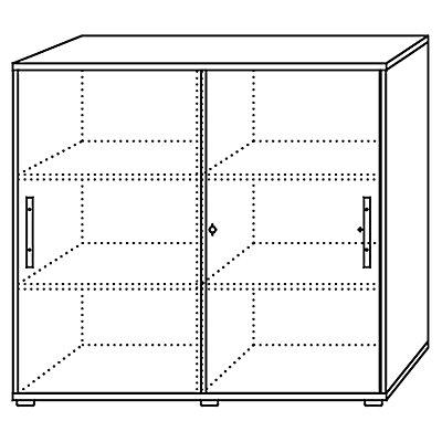 Hammerbacher FINO Schiebetürenschrank - je 2 Fachböden, 1 Trennwand, HxBxT 1100 x 1200 x 400 mm