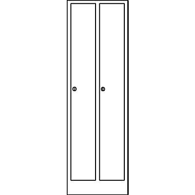 Wolf Garderobenschrank in Komfort-Größe - 2 Abteile, Abteilbreite 300 mm