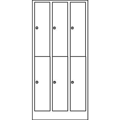 Wolf Garderobenschrank in Komfort-Größe - 6 Abteile, Abteilbreite 300 mm - lichtgrau / opalgrün