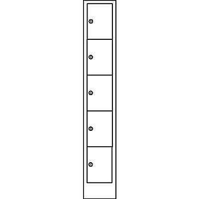 Wolf Schließfachschrank in Komfort-Größe - 5 Fächer, Breite 300 mm