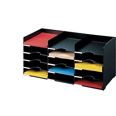 Paperflow Büro-Ablagesystem mit 15 Fächern - für DIN A4, stapelbar, schwarz