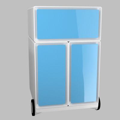 Büro Rollcontainer - mit 3 blauen Schubladen, HxBxT