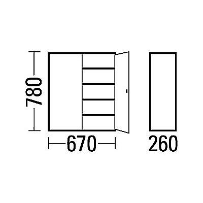 EUROKRAFT Materialschrank aus Stahlblech - Höhe 780 mm
