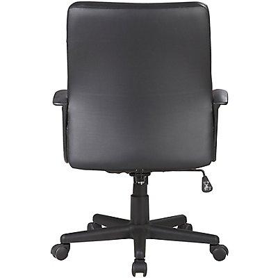 Bürodrehstuhl mit Lederbezug, schwarz