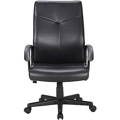 Managerstuhl mit Lederbezug - hohe Rückenlehne, schwarz