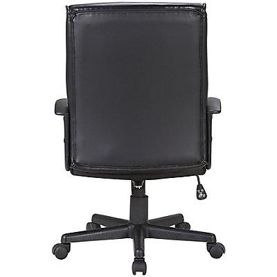 Bürodrehstuhl Lyon - mit Lederbezug und Armlehnen, schwarz