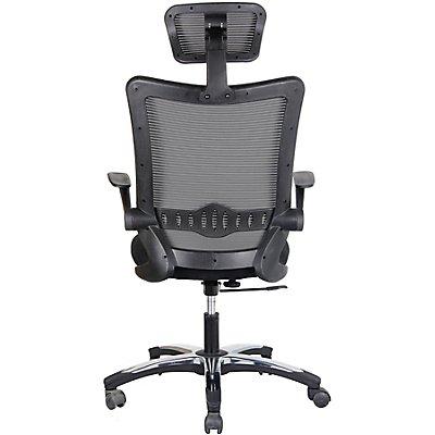 Bürodrehstuhl Optima - mit Netz-Rückenlehne und Kopfstütze, schwarz
