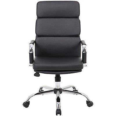 Bürodrehstuhl Ava - mit Chromgestell und Kunstlederpolsterung, schwarz
