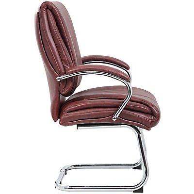 Premium-Besucherstuhl Savona - mit Lederbezug und Chrom-Gestell