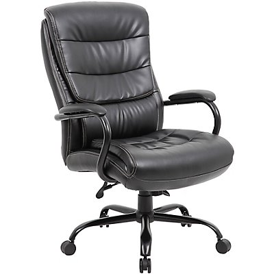 Bürodrehstuhl mit Lederbezug Citadel - Tragfähigkeit 170 kg, schwarz