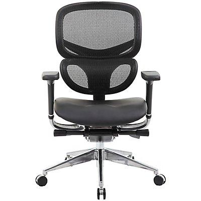 Schreibtischstuhl inSync - mit Ledersitz und Netz-Rückenlehne, schwarz