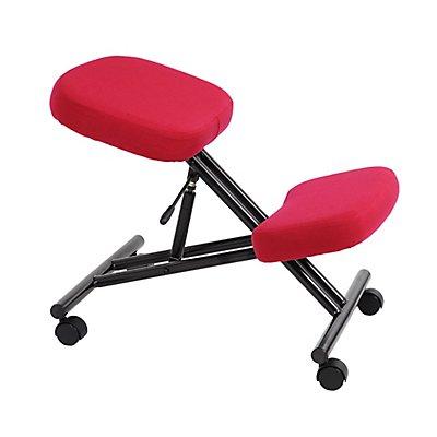 Kniestuhl Deluxe - gepolstert, Rahmen schwarz, rot