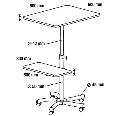 Rocada Multifunktionstisch - Gesamthöhe 720 – 1120 mm