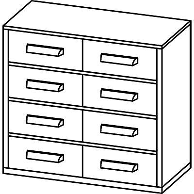 Schubladenmagazin, Schubladen glasklar - HxBxT 282 x 306 x 155 mm, 8 Schubladen