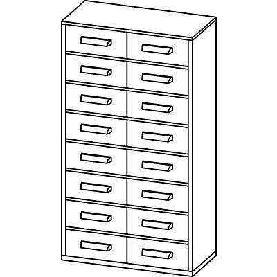 Schubladenmagazin, Schubladen glasklar - HxBxT 551 x 306 x 155 mm, 16 Schubladen