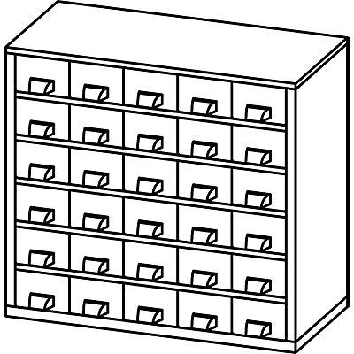 Schubladenmagazin, Schubladen glasklar - HxBxT 282 x 306 x 155 mm, 30 Schubladen