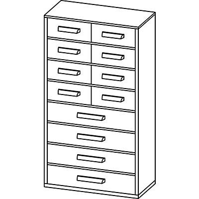 Schubladenmagazin, Schubladen glasklar - HxBxT 551 x 306 x 155 mm, 12 Schubladen