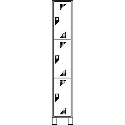 EUROKRAFT Schließfachschrank, Fachhöhe 558 mm - HxBxT 1800 x 400 x 500 mm, 3 Abteile
